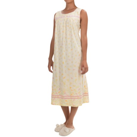 Aria Floral and Butterfly Print Nightgown - Cotton Jersey, Sleeveless (For Women)