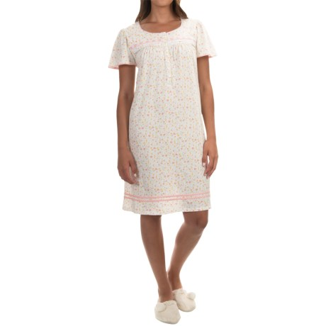 Aria Floral Print Nightgown - Cotton Jersey, Short Sleeve (For Women)