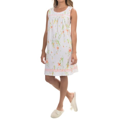 Aria Large Floral Print Nightgown - Cotton Jersey, Sleeveless (For Women)