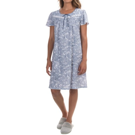 Aria Button-Top Nightgown - Short Sleeve (For Women)