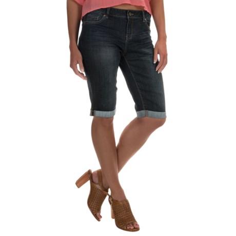Washed-Denim Bermuda Shorts (For Women)