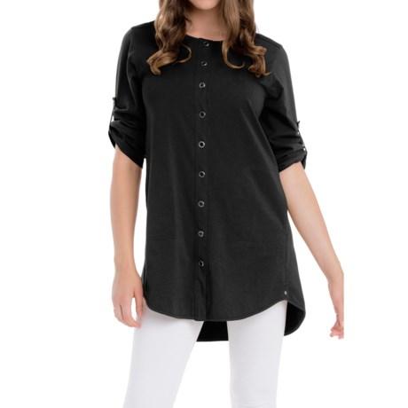 Neon Buddha Sage Spirit Tunic Shirt - Stretch Cotton, 3/4 Sleeve (For Women)