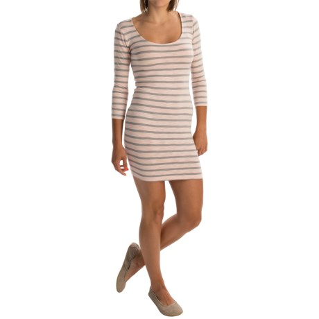 Slub-Knit Striped Dress - 3/4 Sleeve (For Women)