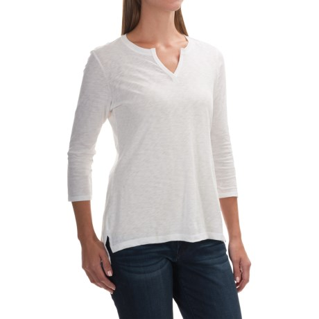 Cynthia Rowley Paraphrase Slub Split-Neck Shirt - Pima Cotton, 3/4 Sleeve (For Women)