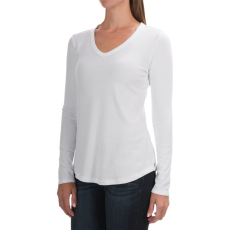 Cynthia Rowley Ribbed V-Neck Shirt - Pima Cotton-Modal, Long Sleeve (For Women)