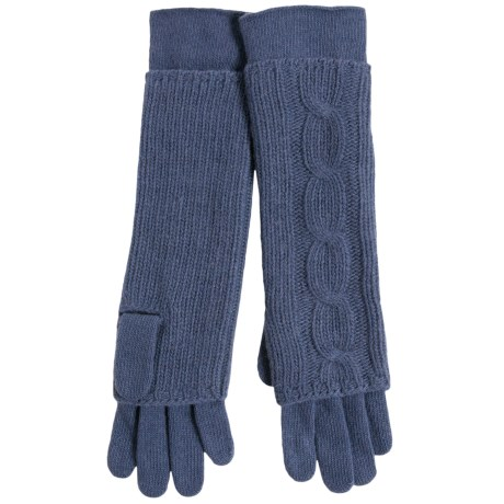 Portolano Cable-Knit Cashmere Gloves - Removable Fingers (For Women)