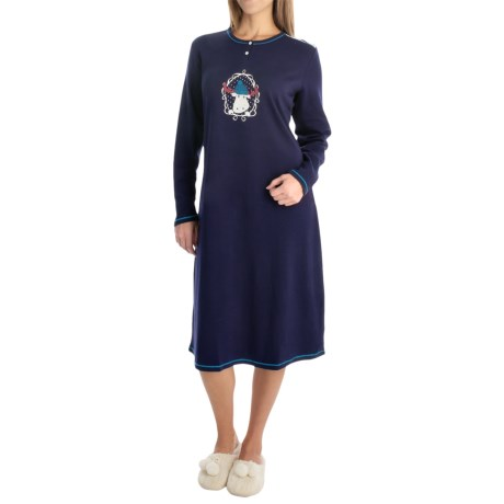 Calida Family Time Nightshirt - Heavyweight Interlock Cotton, Long Sleeve (For Women)