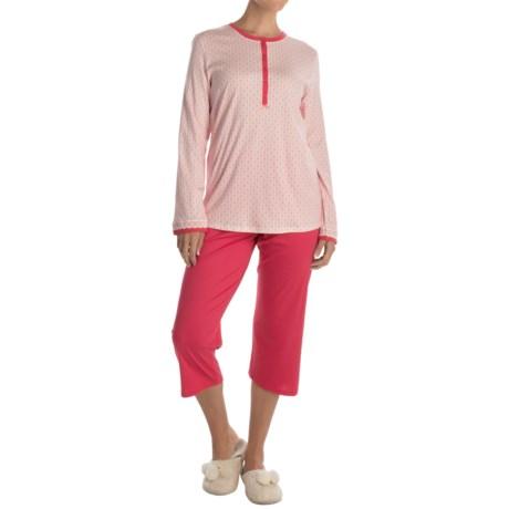 Calida My Way Supima® Cotton Pajamas - Capris, Long Sleeve (For Women)