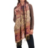 Threads 4 Thought Patterned Button Wrap/Scarf (For Women)