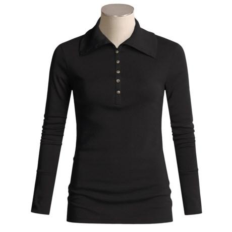 Lilla P Fine Rib Button Top - Pima Cotton, Long Sleeve (For Women)