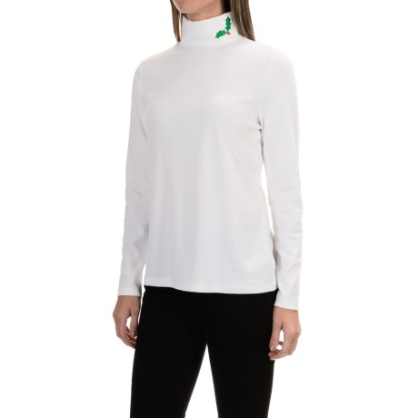 Jones New York Embroidered Holly Leaf Turtleneck - Cotton-Modal, Long Sleeve (For Women)