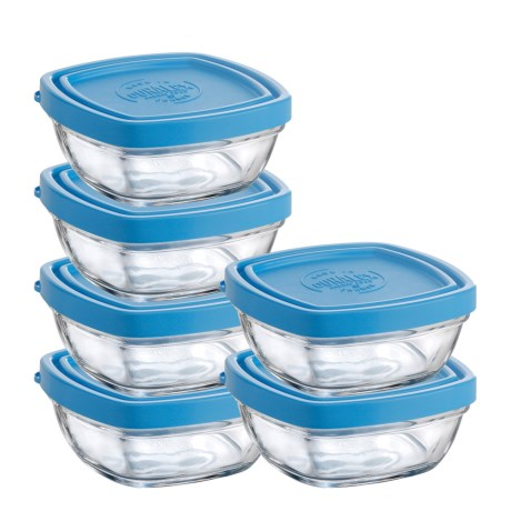 Duralex Lys 10 oz. Square Storage Bowls with Lids - Tempered Glass, Set of 6