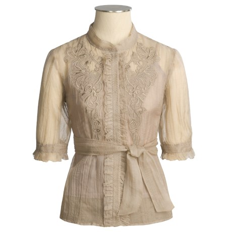 Votre Nom Embroidered Silk Shirt with Camisole - Elbow Sleeve (For Women)
