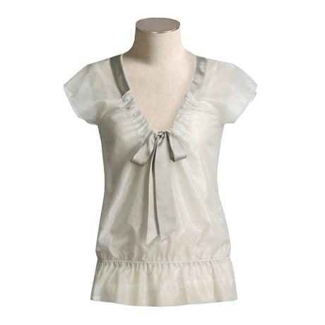 Votre Nom Sheer Cotton-Rich Blouse - Short Sleeve (For Women)
