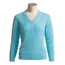 Johnstons of Elgin Cashmere Sweater - Cable Knit, V-Neck (For Women)