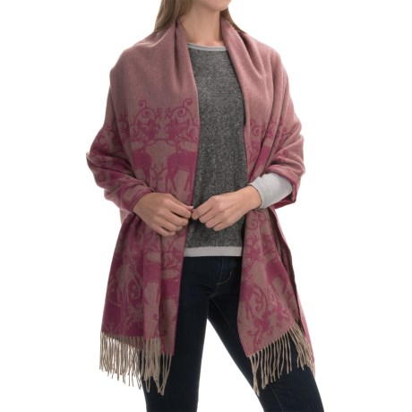 Johnstons of Elgin Cashmere Harrison Buffed Surface Fringed Stole (For Women)