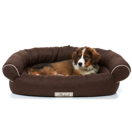 Happy Tails Faux-Linen Sofa Dog Bed - 35x24x11""