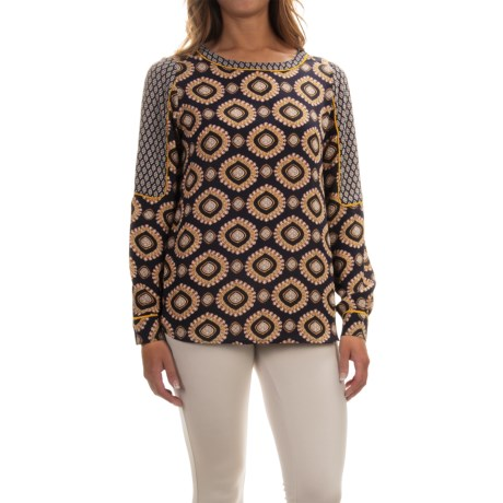Chelsea & Theodore Patterned Georgette Shirt - Scoop Neck, Long Sleeve (For Women)