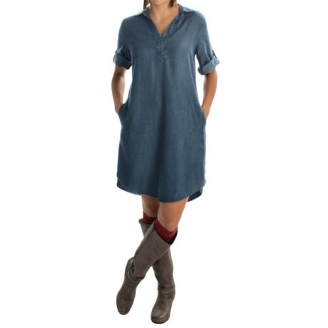 AJ Andrea Jovine Woven TENCEL® Shirt Dress - Elbow Sleeve (For Women)