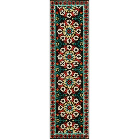 "Momeni Suzani Hook Collection Floor Runner - 2'3""x8', Wool"