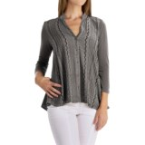 XCVI Neema Embroidered Voile Shirt - Button Down, 3/4 Sleeve (For Women)