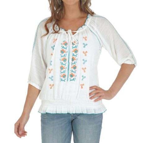 Wrangler Premium Patch Smock Waist Shirt - 3/4 Sleeve (For Women)
