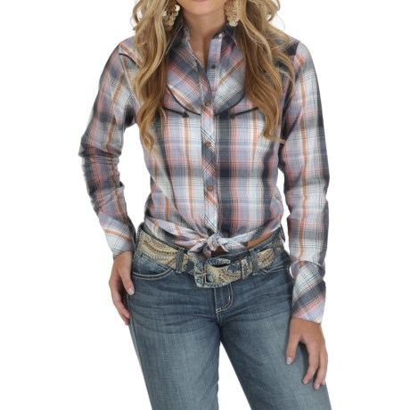 Wrangler Premium Fancy Front and Back Shirt - Snap Front, Long Sleeve (For Women)