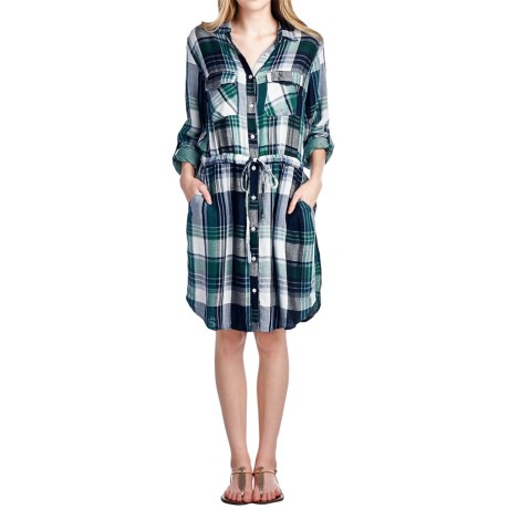 4OUR Dreamers Plaid Rayon Dress - Long Sleeve (For Women)