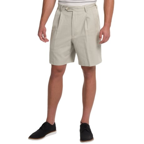 Charleston Khaki by Berle Pleated Herringbone Shorts (For Men)