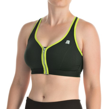 Shock Absorber Active Zipped Plunge Sports Bra - High Impact, Racerback (For Women)