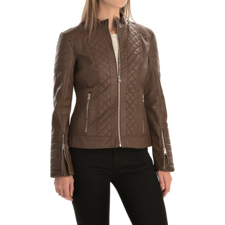 Bar III Quilted Motorcycle Jacket - Vegan Leather (For Women)