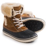 Crocs Allcast Luxe Duck Boots - Leather, Sherpa Fleece Lined (For Women)