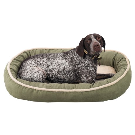 "Sleep Zone Faux-Shearling Oval Cuddler Dog Bed - 35x27"""