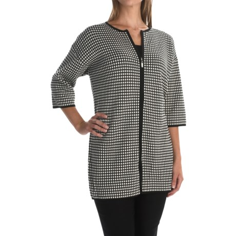 Joan Vass Grid Car Coat - 3/4 Sleeve (For Women)