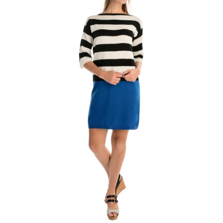 Joan Vass Color-Block Knit Dress - Elbow Sleeve (For Women)
