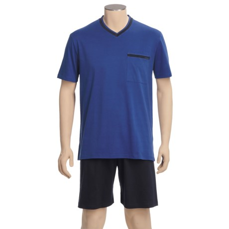 Calida Relax Interlock Cotton Pajamas - Short Sleeve, V-Neck (For Men)