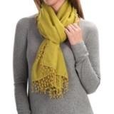 "La Fiorentina Lacey Wool-Silk Scarf - 24x72"", Pompom Fringe (For Women)"