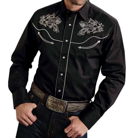 Roper Steer Head Shirt - Cotton, Snap Front, Long Sleeve (For Men)