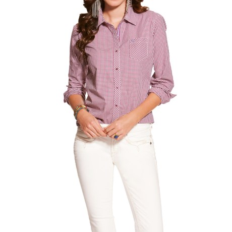 Ariat Kirby Poplin Check Shirt - Button Up, Long Sleeve (For Women)