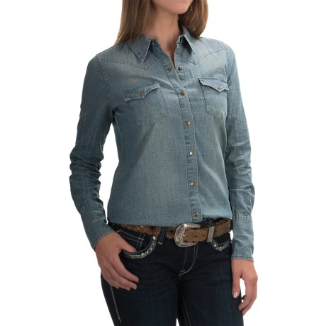Stetson Chambray Western Shirt - Snap Front, Long Sleeve (For Women)