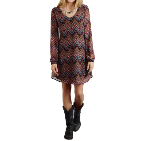 Roper Aztec-Print Georgette Dress - Long Sleeve (For Women)