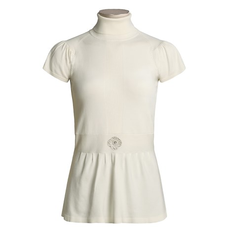 Emanuel Silk-Rich Turtleneck with Embellishment - Short Sleeve (For Women)