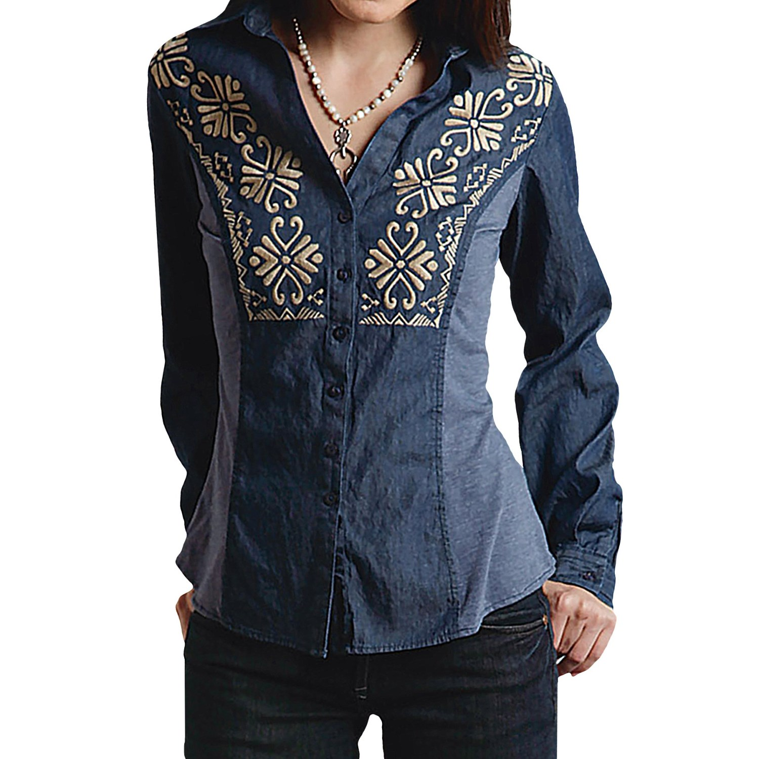 Roper indigo denim shirt for women 160df save 44 for Indigo denim shirt womens