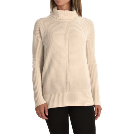 Magaschoni Texture-Blocked Cashmere Turtleneck - Long Sleeve (For Women)