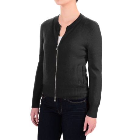 Magaschoni Signature Zip-Front Cashmere Sweater (For Women)