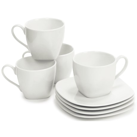 BIA Cordon Bleu Epoch Porcelain Soft Square Cups and Saucers - Set of 4 Each