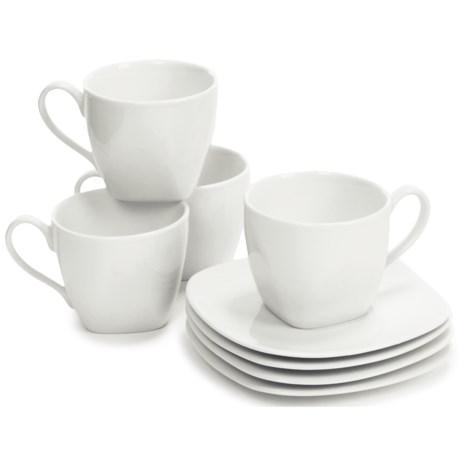 BIA Cordon Bleu Epoch Porcelain Soft Square Cups and Saucers - Set of 4 Each
