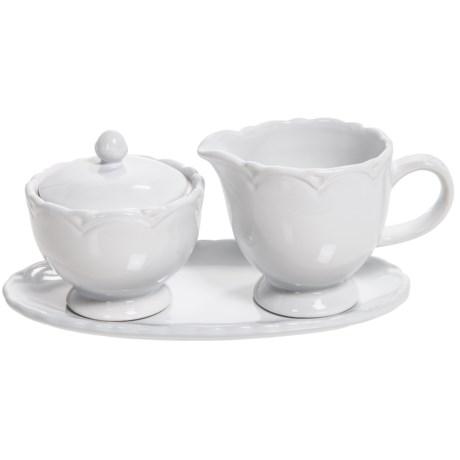 Tag Ceramic Creamer and Sugar Set with Tray