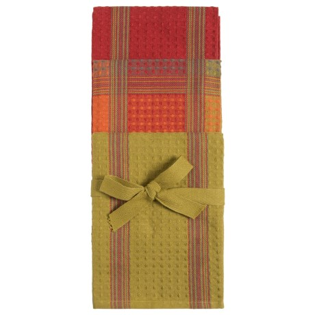Tag Textured Checks and Stripes Dish Towels - Set of 3