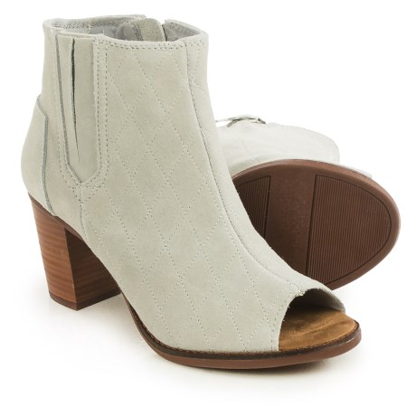 TOMS Majorca Quilted Peep-Toe Ankle Boots - Suede (For Women)